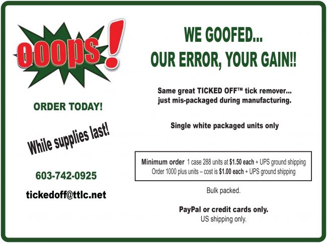 SPECIAL OFFER - We Goofed Our Error, Your Gain